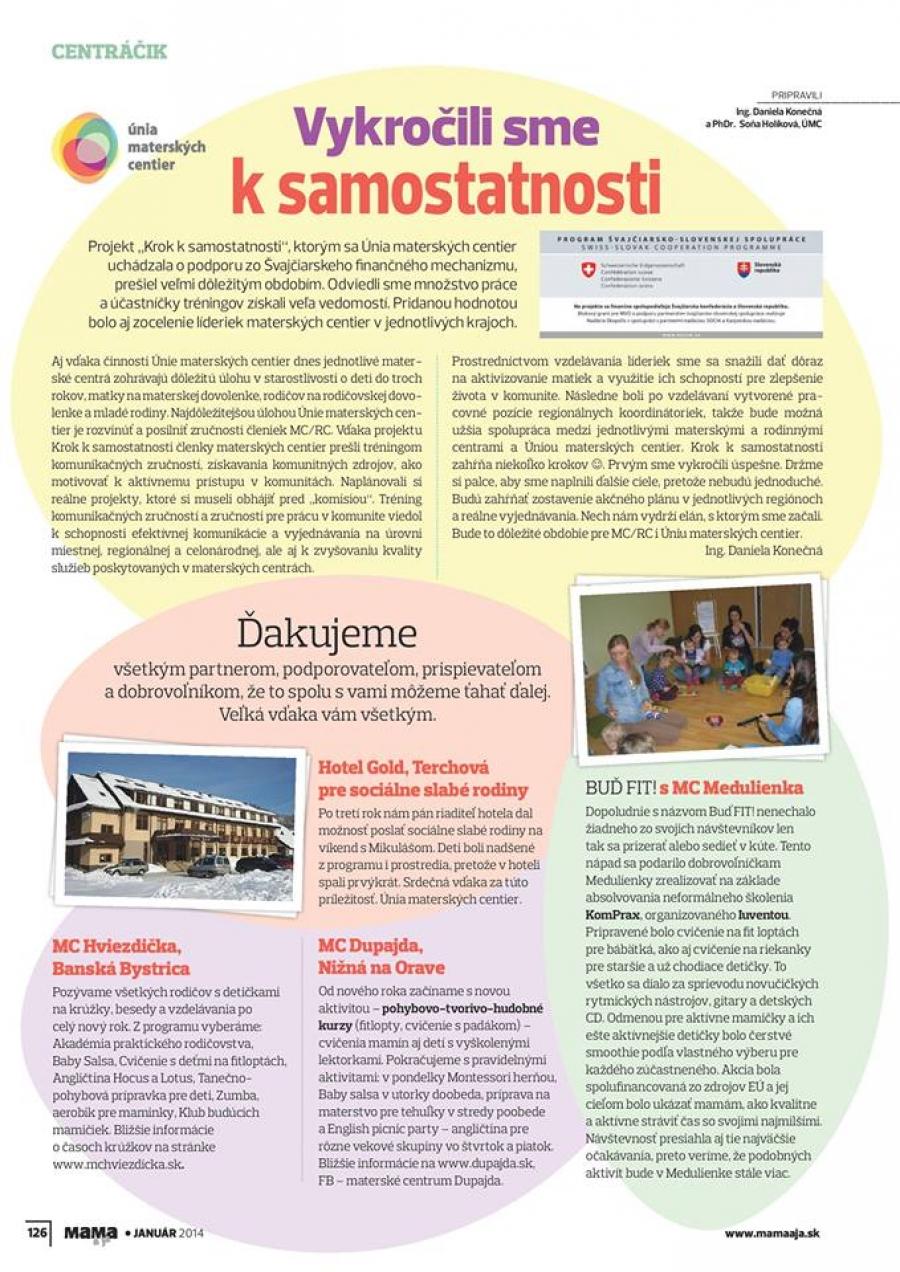 Článok v časopise Mama a Ja (Január 2014)